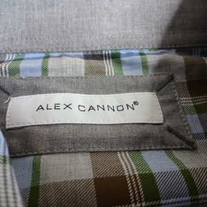 Alex Cannon Shirts - Alex Cannon Large Button Front Brown Plaid Shirt